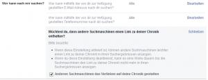 Suchmaschinen-Ergebnis deaktivieren und E-Mail Adresse / Tel. Nr. von der Suche ausschließen.
