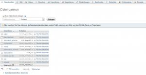 Alle angelegten Datenbanken im Überblick