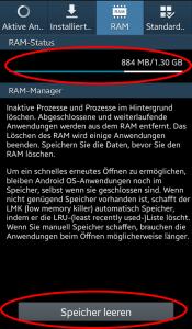 Die Übersicht des RAM-Speichers.
