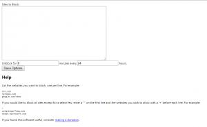 Eingabefeld für die zu sperrenden Websites.