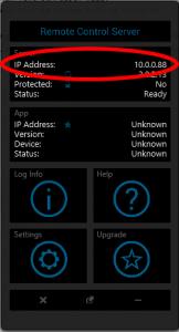 Das Hauptfenster des Remote Control Servers am Computer.