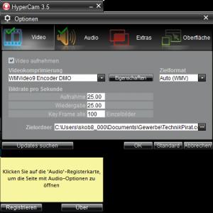 Die Optionseinstellungen von HyperCam 3.5